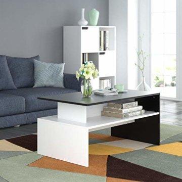 Homfa Couchtisch Wohnzimmertisch Beistelltisch Holztisch Kaffeetisch Holz 90x54x43cm (Schwarz+Weiß) - 7