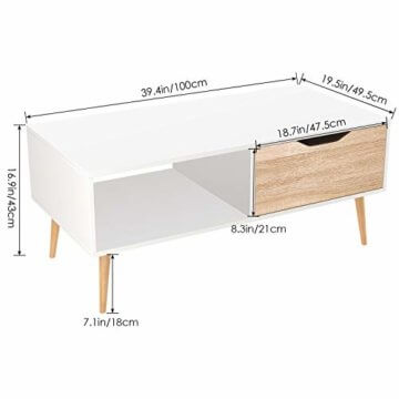 Homfa Couchtisch Wohnzimmertisch Sofatisch Kaffeetisch TV Board lowboard Holz weiß 100x49.5x43cm - 2