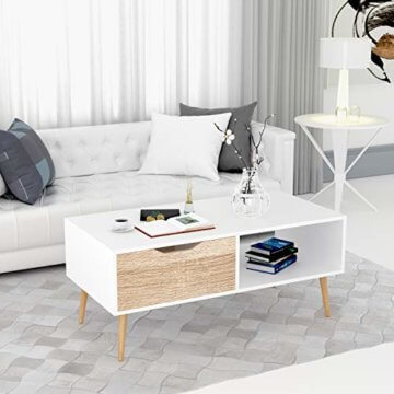 Homfa Couchtisch Wohnzimmertisch Sofatisch Kaffeetisch TV Board lowboard Holz weiß 100x49.5x43cm - 4