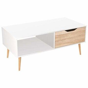 Homfa Couchtisch Wohnzimmertisch Sofatisch Kaffeetisch TV Board lowboard Holz weiß 100x49.5x43cm - 1