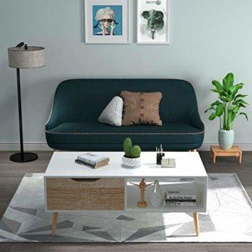 Homfa Couchtisch Wohnzimmertisch Sofatisch Kaffeetisch TV Board lowboard Holz weiß 100x49.5x43cm - 5