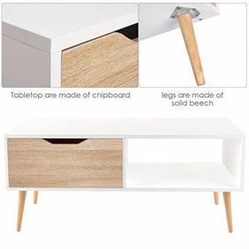 Homfa Couchtisch Wohnzimmertisch Sofatisch Kaffeetisch TV Board lowboard Holz weiß 100x49.5x43cm - 6