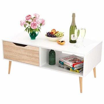 Homfa Couchtisch Wohnzimmertisch Sofatisch Kaffeetisch TV Board lowboard Holz weiß 100x49.5x43cm - 7