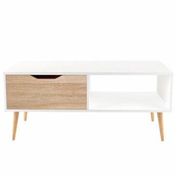 Homfa Couchtisch Wohnzimmertisch Sofatisch Kaffeetisch TV Board lowboard Holz weiß 100x49.5x43cm - 8