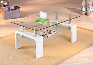 Inter Link 50100040 Couchtisch Glas Weiß Wohnzimmertisch Wohnzimmer Tisch Beistelltisch 110x60 cm - 2
