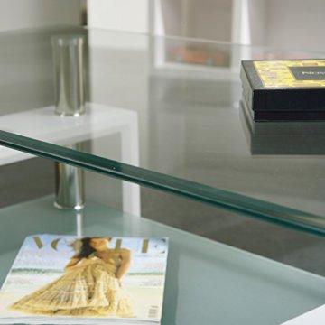 Inter Link 50100040 Couchtisch Glas Weiß Wohnzimmertisch Wohnzimmer Tisch Beistelltisch 110x60 cm - 12