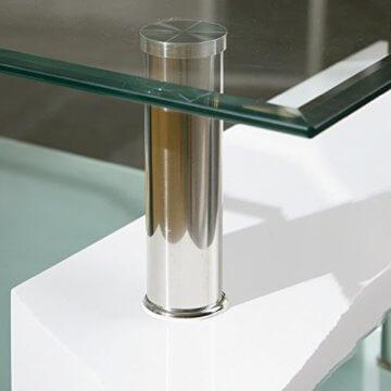 Inter Link 50100040 Couchtisch Glas Weiß Wohnzimmertisch Wohnzimmer Tisch Beistelltisch 110x60 cm - 13