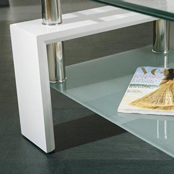 Inter Link 50100040 Couchtisch Glas Weiß Wohnzimmertisch Wohnzimmer Tisch Beistelltisch 110x60 cm - 14