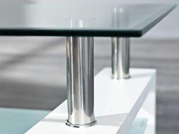 Inter Link 50100040 Couchtisch Glas Weiß Wohnzimmertisch Wohnzimmer Tisch Beistelltisch 110x60 cm - 4