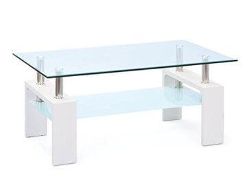 Inter Link 50100040 Couchtisch Glas Weiß Wohnzimmertisch Wohnzimmer Tisch Beistelltisch 110x60 cm - 1