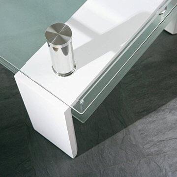 Inter Link 50100040 Couchtisch Glas Weiß Wohnzimmertisch Wohnzimmer Tisch Beistelltisch 110x60 cm - 10