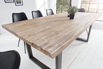 Massiver Esstisch WOTAN Akazie 160cm Massivholz Tisch Esszimmer Holztisch teakgrau gekälkt Industrial Finish - 2