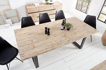 Massiver Esstisch WOTAN Akazie 160cm Massivholz Tisch Esszimmer Holztisch teakgrau gekälkt Industrial Finish - 3