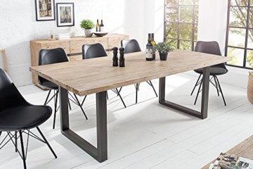 Massiver Esstisch WOTAN Akazie 160cm Massivholz Tisch Esszimmer Holztisch teakgrau gekälkt Industrial Finish - 4