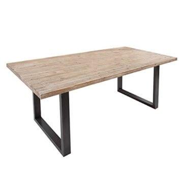 Massiver Esstisch WOTAN Akazie 160cm Massivholz Tisch Esszimmer Holztisch teakgrau gekälkt Industrial Finish - 1