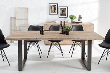 Massiver Esstisch WOTAN Akazie 160cm Massivholz Tisch Esszimmer Holztisch teakgrau gekälkt Industrial Finish - 6