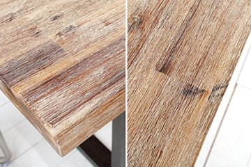 Massiver Esstisch WOTAN Akazie 160cm Massivholz Tisch Esszimmer Holztisch teakgrau gekälkt Industrial Finish - 7