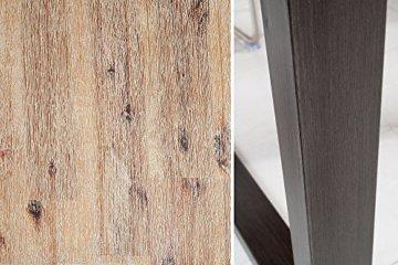 Massiver Esstisch WOTAN Akazie 160cm Massivholz Tisch Esszimmer Holztisch teakgrau gekälkt Industrial Finish - 8