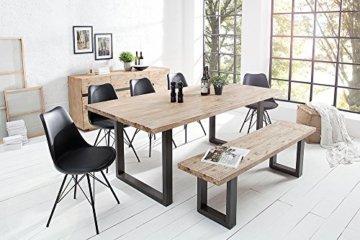 Massiver Esstisch WOTAN Akazie 160cm Massivholz Tisch Esszimmer Holztisch teakgrau gekälkt Industrial Finish - 9