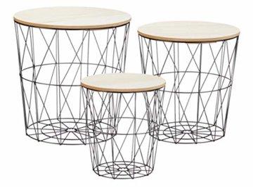 Metall Beistelltisch mit Stauraum schwarz – 3er Set – Wohnzimmer Tisch mit Abnehmbarer Holz Platte Metallkorb Sofatisch Couchtisch -
