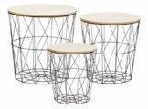 Metall Beistelltisch mit Stauraum schwarz - 3er Set - Wohnzimmer Tisch mit Abnehmbarer Holz Platte Metallkorb Sofatisch Couchtisch - 1