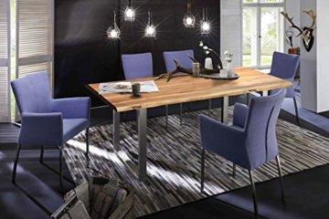 SAM® Stilvoller Esszimmertisch Quarto 160 x 85 cm aus Akazie-Holz, Tisch mit Silber lackierten Beinen, Baum-Tisch mit naturbelassener Optik - 2