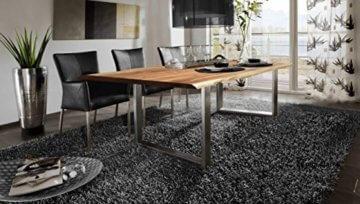 SAM® Stilvoller Esszimmertisch Quarto 160 x 85 cm aus Akazie-Holz, Tisch mit Silber lackierten Beinen, Baum-Tisch mit naturbelassener Optik - 3
