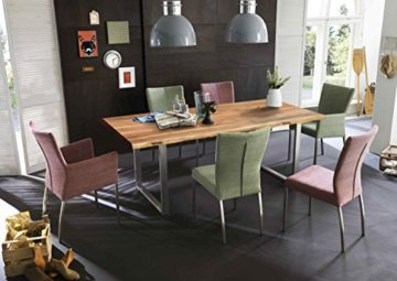 SAM® Stilvoller Esszimmertisch Quarto 160 x 85 cm aus Akazie-Holz, Tisch mit Silber lackierten Beinen, Baum-Tisch mit naturbelassener Optik - 4