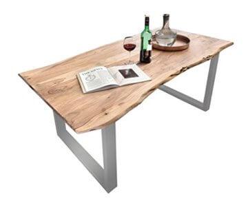 SAM® Stilvoller Esszimmertisch Quarto 160 x 85 cm aus Akazie-Holz, Tisch mit Silber lackierten Beinen, Baum-Tisch mit naturbelassener Optik - 1