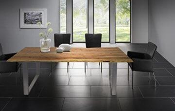 SAM® Stilvoller Esszimmertisch Quarto 160 x 85 cm aus Akazie-Holz, Tisch mit Silber lackierten Beinen, Baum-Tisch mit naturbelassener Optik - 5