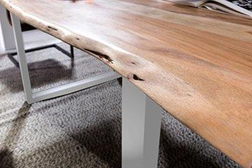 SAM® Stilvoller Esszimmertisch Quarto 160 x 85 cm aus Akazie-Holz, Tisch mit Silber lackierten Beinen, Baum-Tisch mit naturbelassener Optik - 7