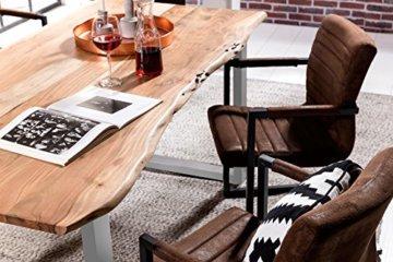 SAM® Stilvoller Esszimmertisch Quarto 160 x 85 cm aus Akazie-Holz, Tisch mit Silber lackierten Beinen, Baum-Tisch mit naturbelassener Optik - 8