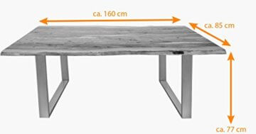 SAM® Stilvoller Esszimmertisch Quarto 160 x 85 cm aus Akazie-Holz, Tisch mit Silber lackierten Beinen, Baum-Tisch mit naturbelassener Optik - 9