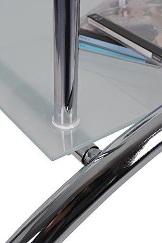 ts-ideen Glastisch Beistelltisch Couchtisch Oval mit Edelstahl und 8 mm ESG Sicherheitsglas - 3