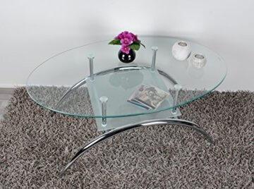 ts-ideen Glastisch Beistelltisch Couchtisch Oval mit Edelstahl und 8 mm ESG Sicherheitsglas - 4