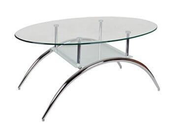 ts-ideen Glastisch Beistelltisch Couchtisch Oval mit Edelstahl und 8 mm ESG Sicherheitsglas - 1