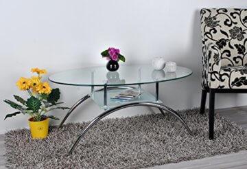 ts-ideen Glastisch Beistelltisch Couchtisch Oval mit Edelstahl und 8 mm ESG Sicherheitsglas - 5