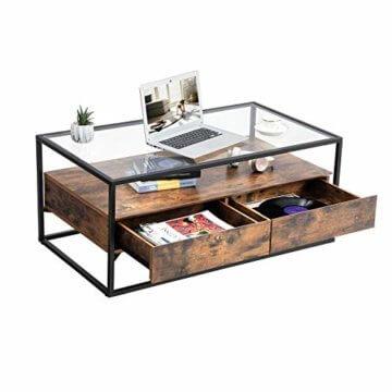 VASAGLE Couchtisch im Industrie Design, Wohnzimmertisch, Glastisch mit 2 Schubladen, Kaffeetisch, Sofatisch, Lounge Deko, gehärtetes Glas, stabil, Vintage LCT31BX - 2