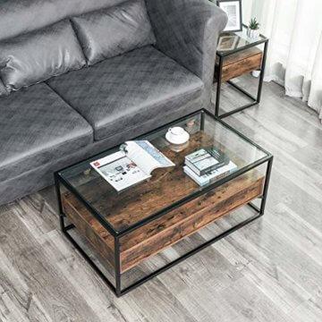 VASAGLE Couchtisch im Industrie Design, Wohnzimmertisch, Glastisch mit 2 Schubladen, Kaffeetisch, Sofatisch, Lounge Deko, gehärtetes Glas, stabil, Vintage LCT31BX - 4