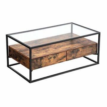 VASAGLE Couchtisch im Industrie Design, Wohnzimmertisch, Glastisch mit 2 Schubladen, Kaffeetisch, Sofatisch, Lounge Deko, gehärtetes Glas, stabil, Vintage LCT31BX - 1