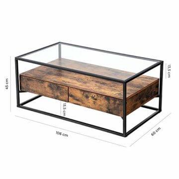 VASAGLE Couchtisch im Industrie Design, Wohnzimmertisch, Glastisch mit 2 Schubladen, Kaffeetisch, Sofatisch, Lounge Deko, gehärtetes Glas, stabil, Vintage LCT31BX - 7