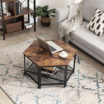 VASAGLE Vintage Wohnzimmertisch, Couchtisch, Kaffeetisch, fürs Wohnzimmer oder Büro, stabil, mit Metallgestell und Gitterablage, hexagonal, Holzoptik LCT16X - 3
