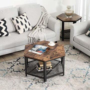 VASAGLE Vintage Wohnzimmertisch, Couchtisch, Kaffeetisch, fürs Wohnzimmer oder Büro, stabil, mit Metallgestell und Gitterablage, hexagonal, Holzoptik LCT16X - 4