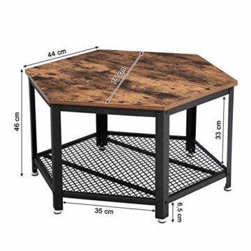VASAGLE Vintage Wohnzimmertisch, Couchtisch, Kaffeetisch, fürs Wohnzimmer oder Büro, stabil, mit Metallgestell und Gitterablage, hexagonal, Holzoptik LCT16X - 5