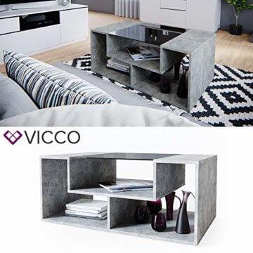 Vicco Couchtisch Gabriel 100 cm Sofatisch Kaffeetisch Beistelltisch Ablage (Beton Schwarz) - 2