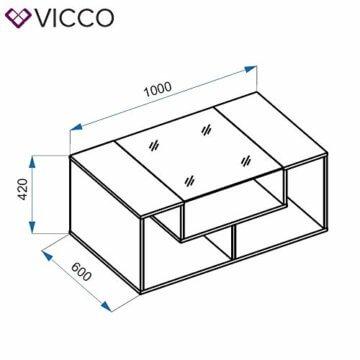 Vicco Couchtisch Gabriel 100 cm Sofatisch Kaffeetisch Beistelltisch Ablage (Beton Schwarz) - 3