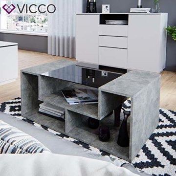 Vicco Couchtisch Gabriel 100 cm Sofatisch Kaffeetisch Beistelltisch Ablage (Beton Schwarz) - 5