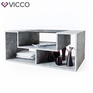 Vicco Couchtisch Gabriel 100 cm Sofatisch Kaffeetisch Beistelltisch Ablage (Beton Schwarz) - 7