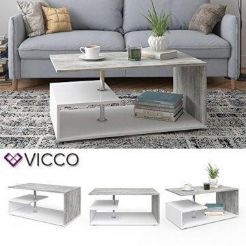 Vicco Couchtisch Guillermo 90 x 50 cm - Wohnzimmertisch Beistelltisch Holztisch Kaffeetisch - 4 Farben zur Auswahl (weiß Beton) - 2