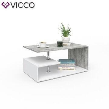 Vicco Couchtisch Guillermo 90 x 50 cm - Wohnzimmertisch Beistelltisch Holztisch Kaffeetisch - 4 Farben zur Auswahl (weiß Beton) - 3